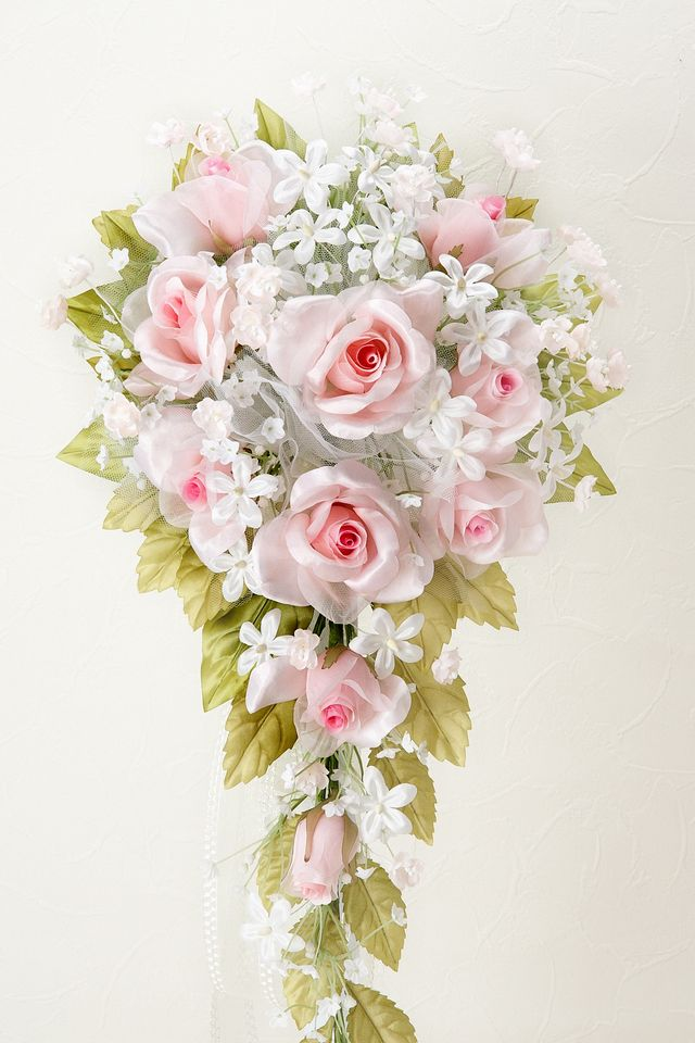 【アートフラワーブーケ】リトルプリンセスローズブーケ・ピンク/キャスケード