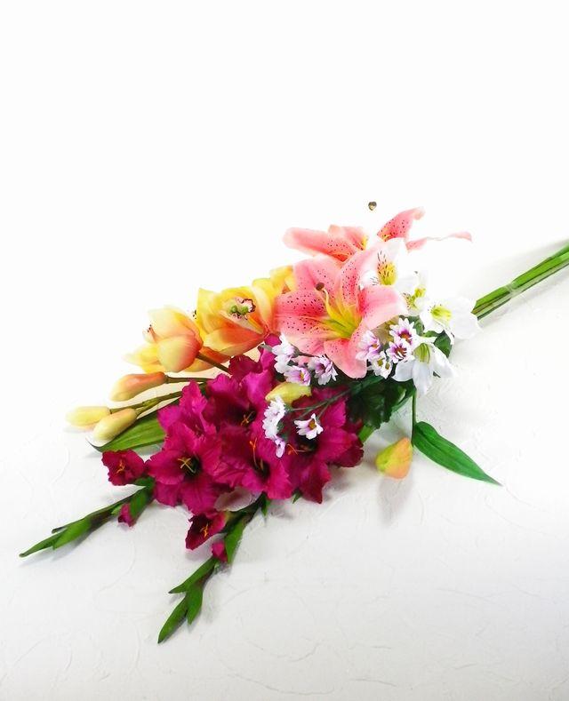 【造花 仏花】ピンクカサブランカとグラジオラスのデザインメモリアル供花-1束