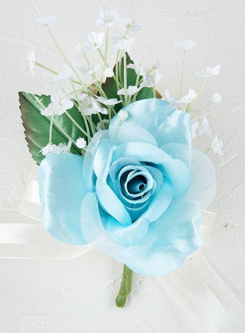 プリンセスローズ&かすみ草のコサージュ(ブルー)