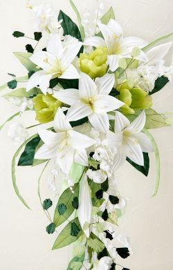 【アートフラワーブーケ】ユリキャスケードブーケ/ホワイト