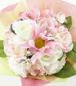 【造花トスブーケ】バラ&ガーベラ&アルストロメリア/ピンクホワイト