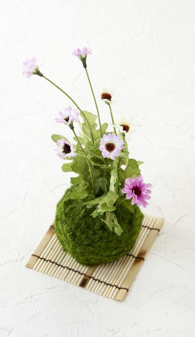 【造花 観葉植物】苔玉・山野草アレンジH(角型花器)